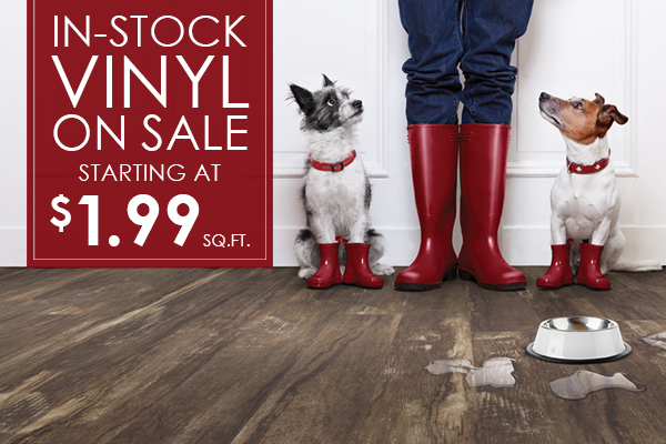 In-stock vinyl on sale starting at $1.99 sq.ft. this month at Summer's Abbey Flooring Center!
